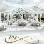 Skaidrus paviljonas, skaidri palapinė, permatoma, baltas kilimas, paviljono dekoras, tents.lt, bambukinės kėdės,